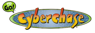 Logo for a childrens cartoon on PBS titled Cyberchase