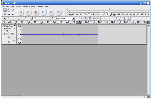 Screenshot of the program Audacity playing a sound recording