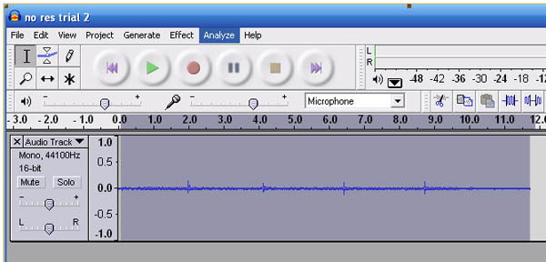 Screenshot of the program Audacity highlighting the Analyze tab at the top of the program