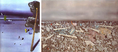 A side by side picture of a low density and high-density painting created by Yves Tanguy