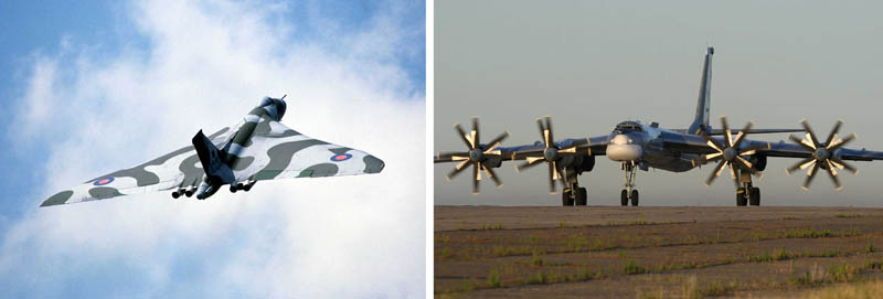 Two side-by-side photos of military aircraft are shown. On the left, is a triangular-shaped plane with a tail painted a camouflage-style gray and white, while on the right is a more conventional, commercial-looking plane with a shiny silver surface, and four large propellers attached to the front wings.