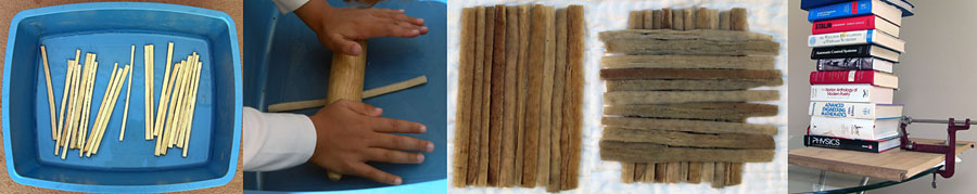 Materials Science Project steps in making papyrus paper, which include soaking, rolling, creating a first layer, creating a second layer, and pressing the layers beneath heavy weights or with a clamp