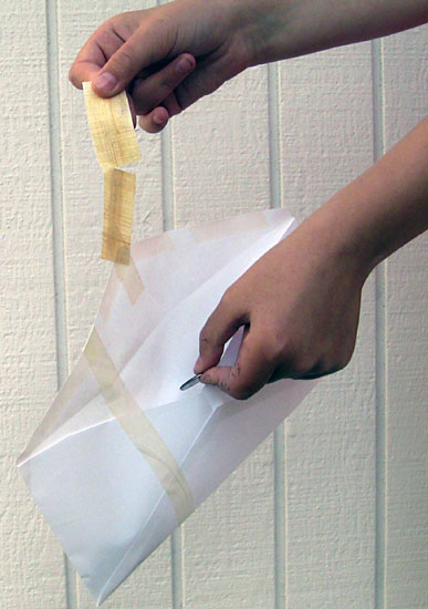 Materials Science Project  where to add packaging tape to the width of the envelope, how to attach the test strip to the envelope flap, and how to hold the strip for testing.