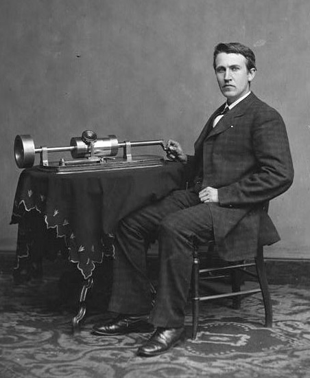 Music Science Project Thomas Alva Edison seated with his invention, the phonograph. (Courtesy of The Library of Congress)