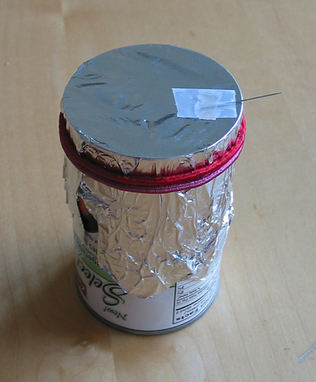 Music Science Project Can with foil diaphragm and needle assembly
