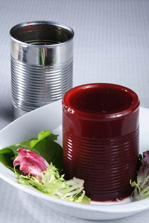 Canned jellied cranberry sauce unmolded onto a plate