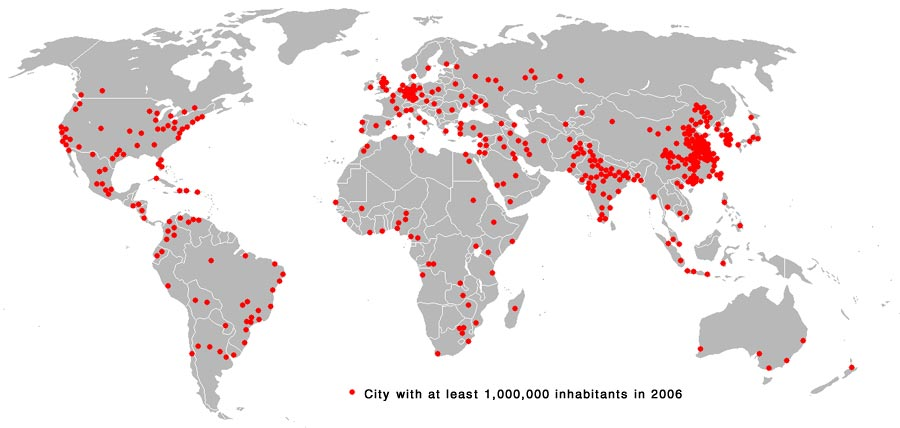 Ocean Science science fair project This photo shows cities around the world with at least 1,000,000 people.
