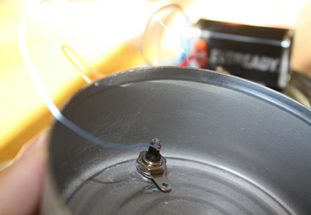 A RCA phono jack is mounted to a washer