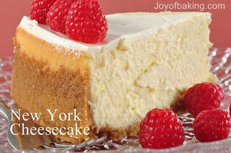 Food Science & Cooking science project <B>Figure 1.</B> This photo shows a slice of New York style cheesecake with raspberries. (Joy of Baking, Stephanie and Rick Jaworski, 2003.)