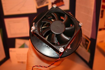 Energy science fair project  <B>Figure 4.</B> Completed fan and cap hub assembly.