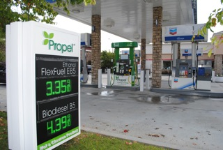 Chevron gas station selling Propel ethanol fuel