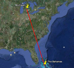 Google Earth map showing Kirtland's warbler migratory route
