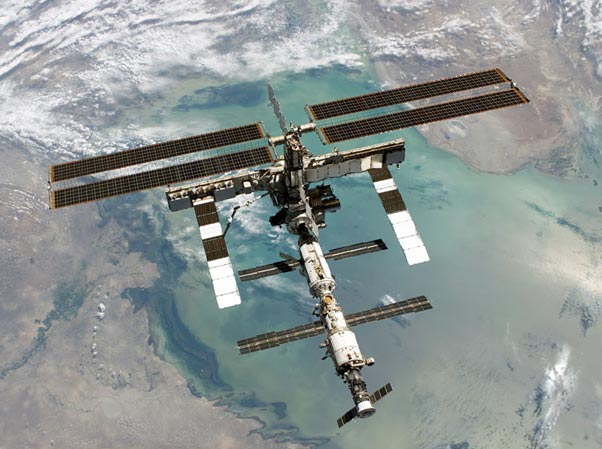 Physical Science fair project International Space Station orbiting Earth.