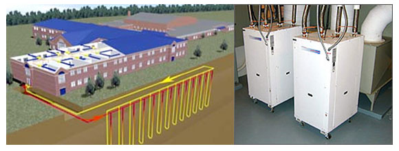 Energy Science project diagram on the left shows how a geothermal heat pump works. On the right is a photograph 