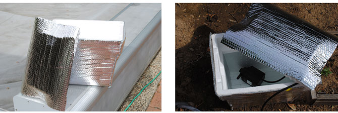 Photo of insulation used to wrap a cooler next to a photo of a cooler filled with water and a pump