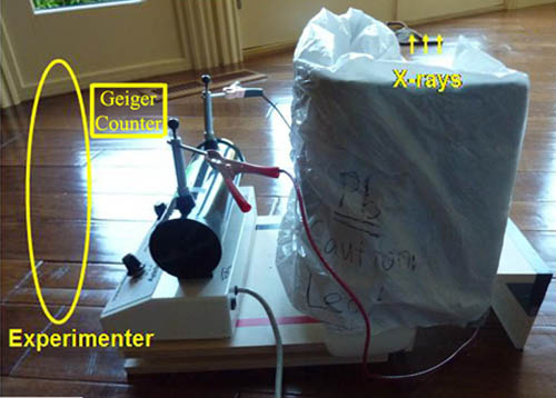 A picture of the X-ray machine setup for testing the shielding for radiation leaks.