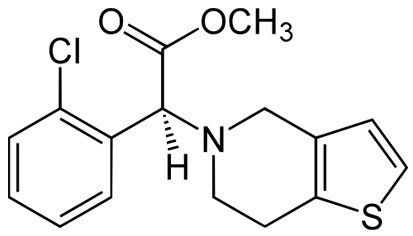 The drug clopidogrel has a small chemical structure, and each part of its structure plays a role in how it interacts with signaling pathways in our body.