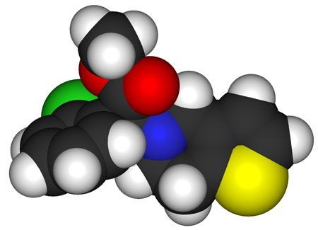 The space-filling model of the drug clopidogrel, green is chlorine, red is oxygen, blue is nitrogen, and yellow is sulfur
