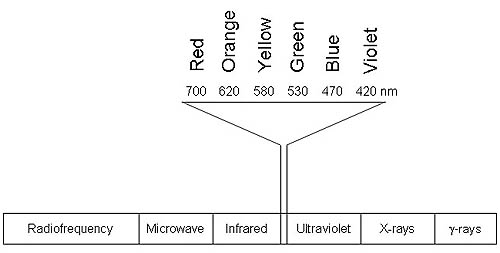 Simplified graphic of the electromagnetic spectrum that focuses on the range of visible light