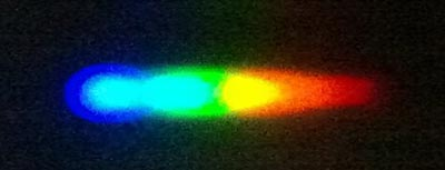 A diffraction grating separates light passing through water into a color spectrum from blue on the left to red on the right