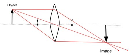A diagram of how convex lens bends light