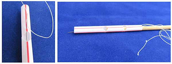 A needle is used to insert string into the wall of a straw just above a pre-cut notch