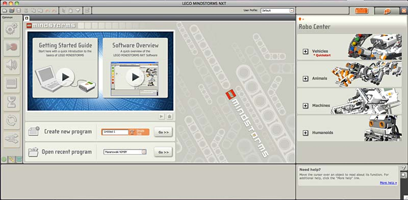 Screenshot of the opening screen to the program Mindstorms NXT-G