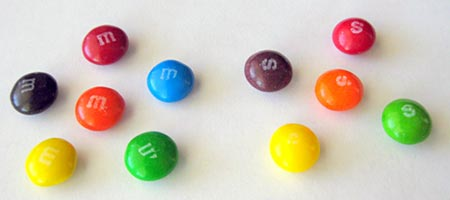 Picture of M&Ms and Skittles.Biotechnology science project