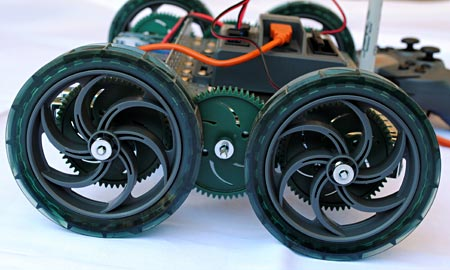 Side view of a robot's wheels