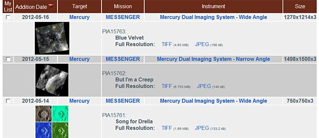 The Photojournal image catalog is organized into a table