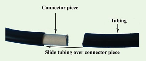 Picture shows how to connect the tubing ends to form the hula hoop.
