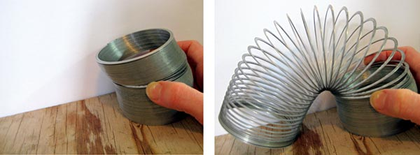 Mechanical Engineering science project Photo of a slinky on an inclined plane.