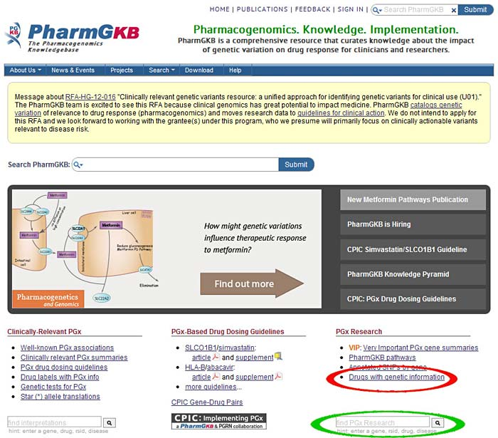 PharmGKB Pharmacogenomics Knowledge Base has information on different drugs, including their chemistry, pathways they are involved in, and how they are affected by genetics., Medical Biotechnology BioMed science project