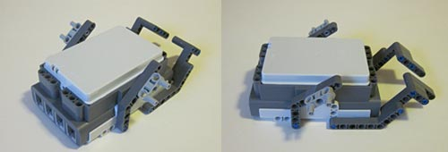 Two photos of motor mounts built from Lego pieces on an upside down NXT brick