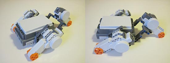 Two photos of three Lego motors mounted on an upside down NXT brick