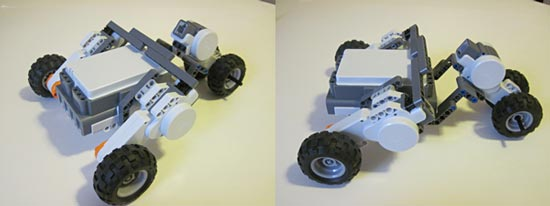 Two photos four wheels attached to three motors on an upside down NXT brick