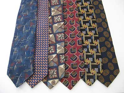 Six ties of various colors and patterns