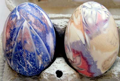 Two dyed eggs side-by-side