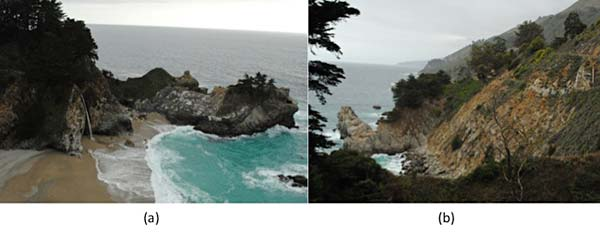 Geology science project McWay Falls in 2013 is shown in (a) and the location of the landslide that is source of the beach is shown in (b).