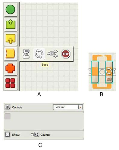 A loop is selected in the LEGO NXT-G program and options for the loop are displayed