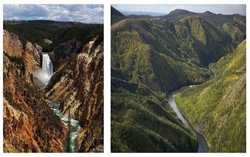 Geology science project Two pictures illustrate how water shapes and reshapes the land over time. Left: the Grand Canyon of the Yellowstone in Wyoming. Right: Jim River Canyon near Kanuti National Wildlife Refuge in Alaska