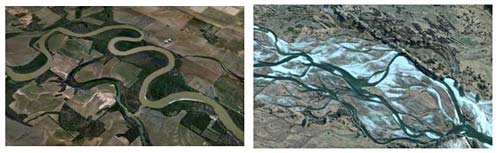 Geology science project This illustration shows a meander in a river (left) and a braided river (right). (Left photo courtesy of Google earth 2013 Google; right photo courtesy of Map data 2013 Google.)