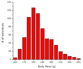 simulated data: skewed histogram of body mass for a hypothetical population of fish