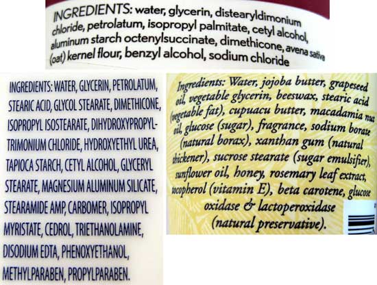Three images of ingredients lists for different moisturizers