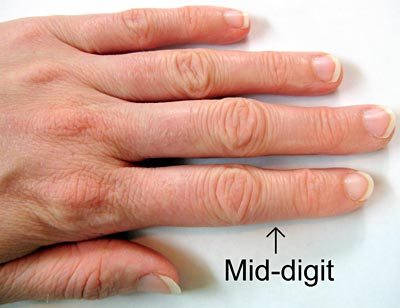 Genomics science project photograph shows where mid-digits on a hand are