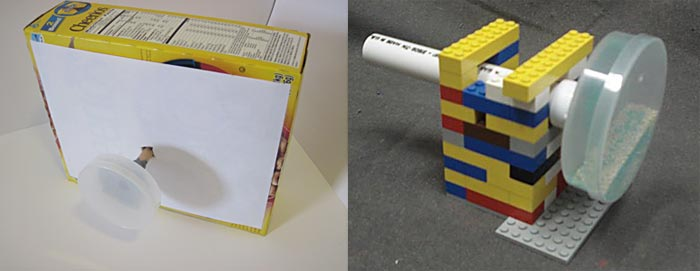 Physics science project mixing tumbler cardboard lego box support