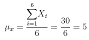 The mean is equal to the sum of the six values divided by six.'