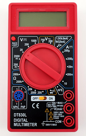 Photo of a digital multimeter