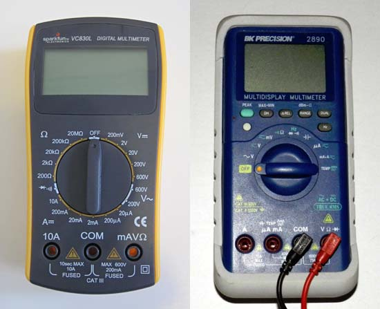 Side-by-side photos of a manual ranging multimeter on the left and an auto-ranging multimeter on the right