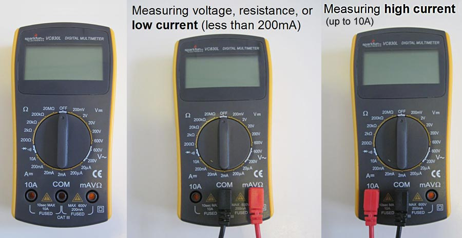 Probes are inserted into different ports of a multimeter based on the current being measured